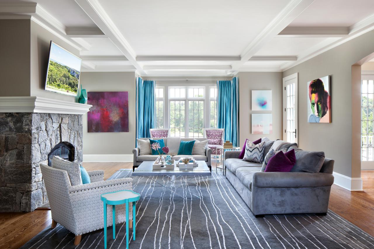 Contemporary Gray Family Room With Aqua Accents Hgtv
