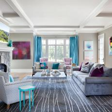 Contemporary Gray Family Room With Aqua Accents