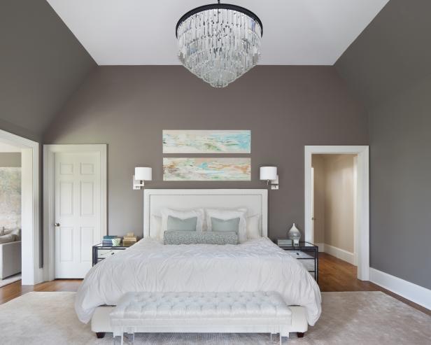 glamorous white gray master bedroom   Transitional Gray Bedroom With Glamorous Chandelier   HGTV