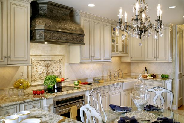 Neutral Traditional Kitchen With Antique-White Glazed Cabinets