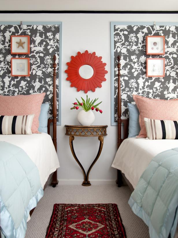 Colorful Guest Room With Gray and White Wallpaper Headboards