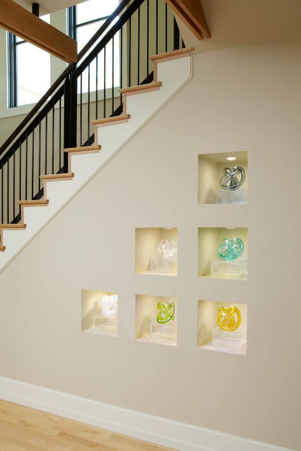 Modern Staircase With Built In Cube Shelves Hgtv