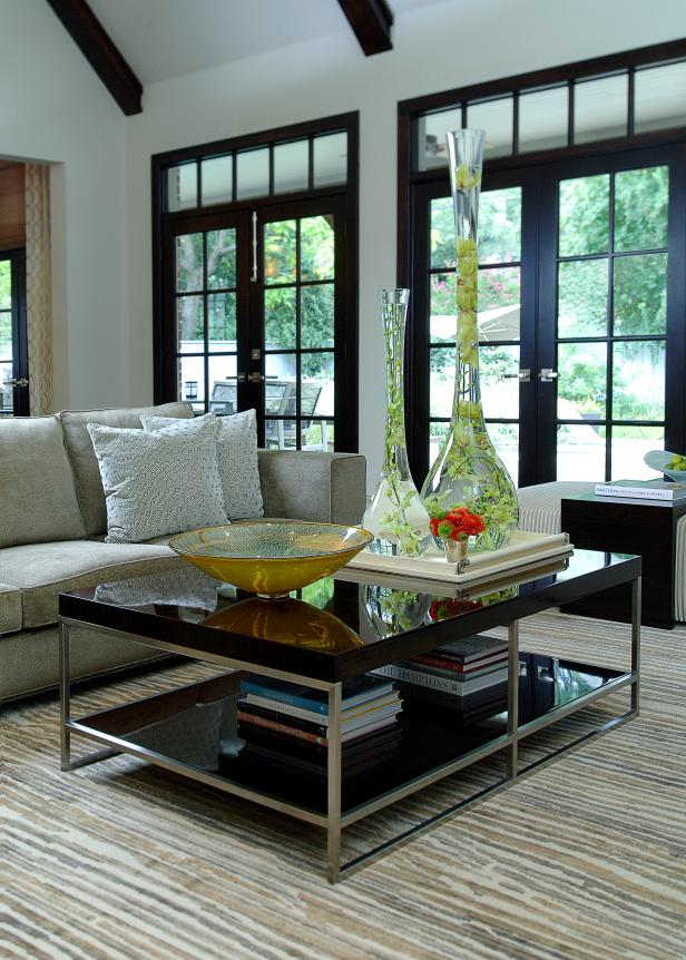 Tall Vases on Sleek Coffee Table in Transitional Neutral Living Room