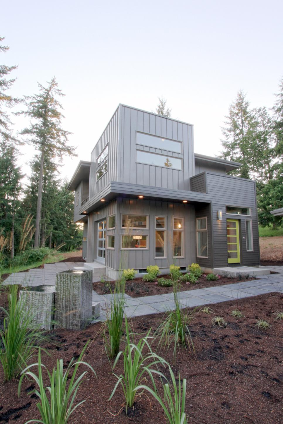 Modern Gray House Exterior With Lime Green Front Door