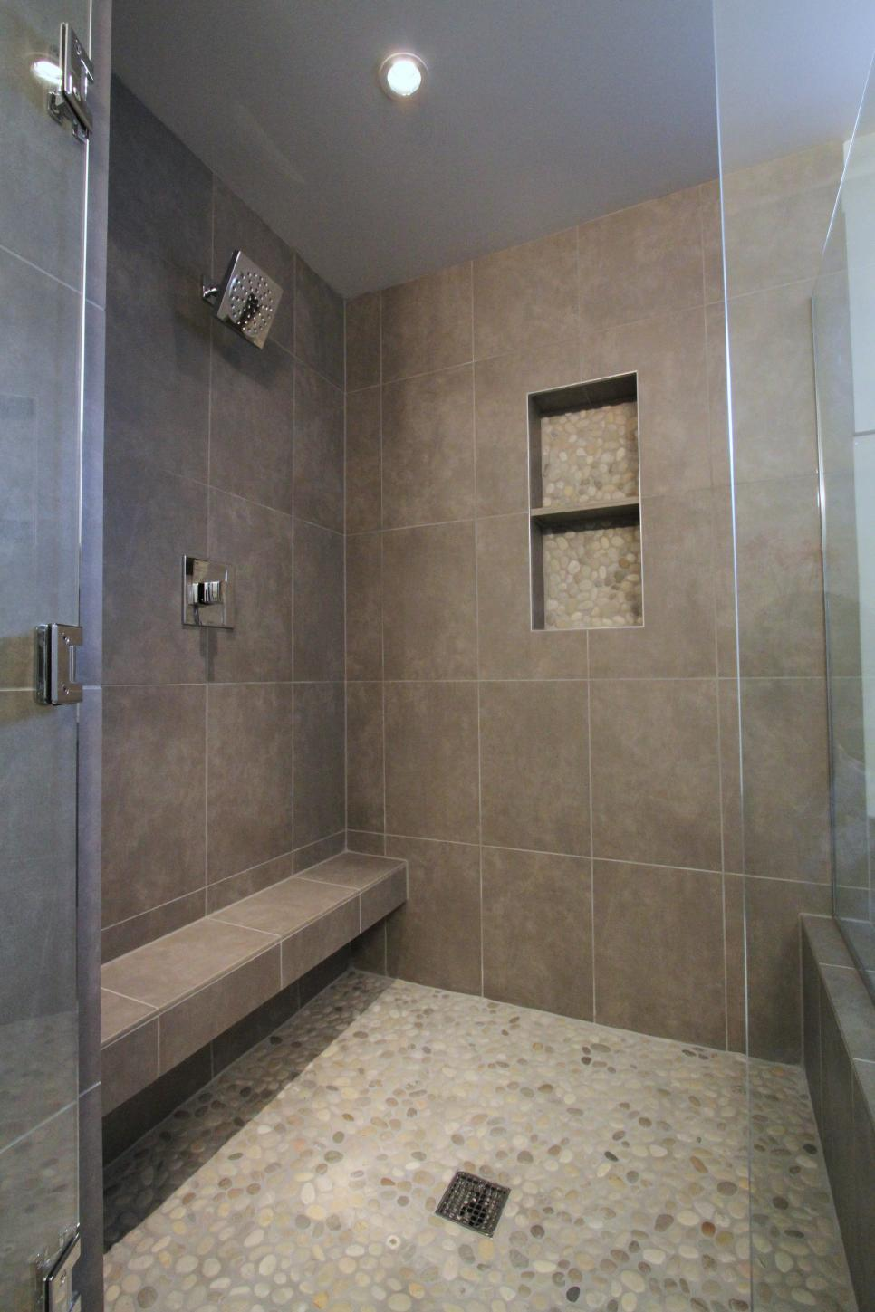 Neutral Tile Shower With Pebble Flooring
