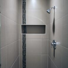 Merveilleux Skinny Porcelain Tile Shower With Built In Niche