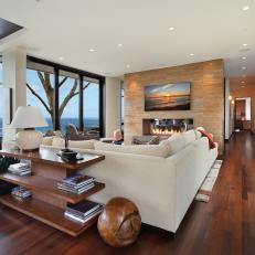 Contemporary California Living Room With Marble Accent Wall