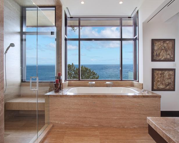 Contemporary Master Bathroom With Ocean View