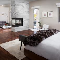 Modern Bedroom With Stunning Marble Fireplace
