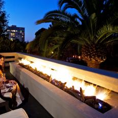 Contemporary Terrace With Sleek Fire Feature
