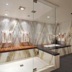 Modern Spa Bathroom With Stunning Stone Accent Wall