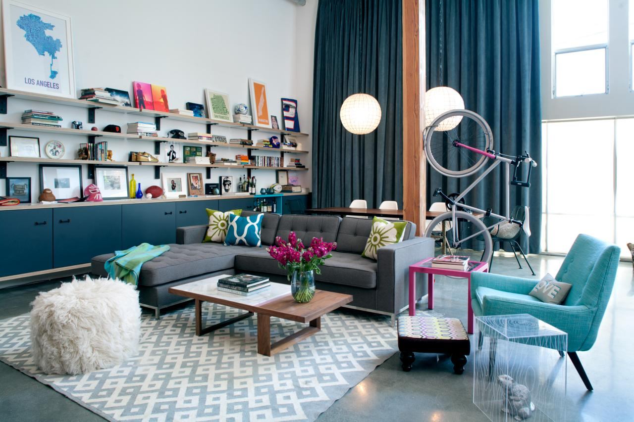 Eclectic Living And Dining Rooms With Colorful Accents