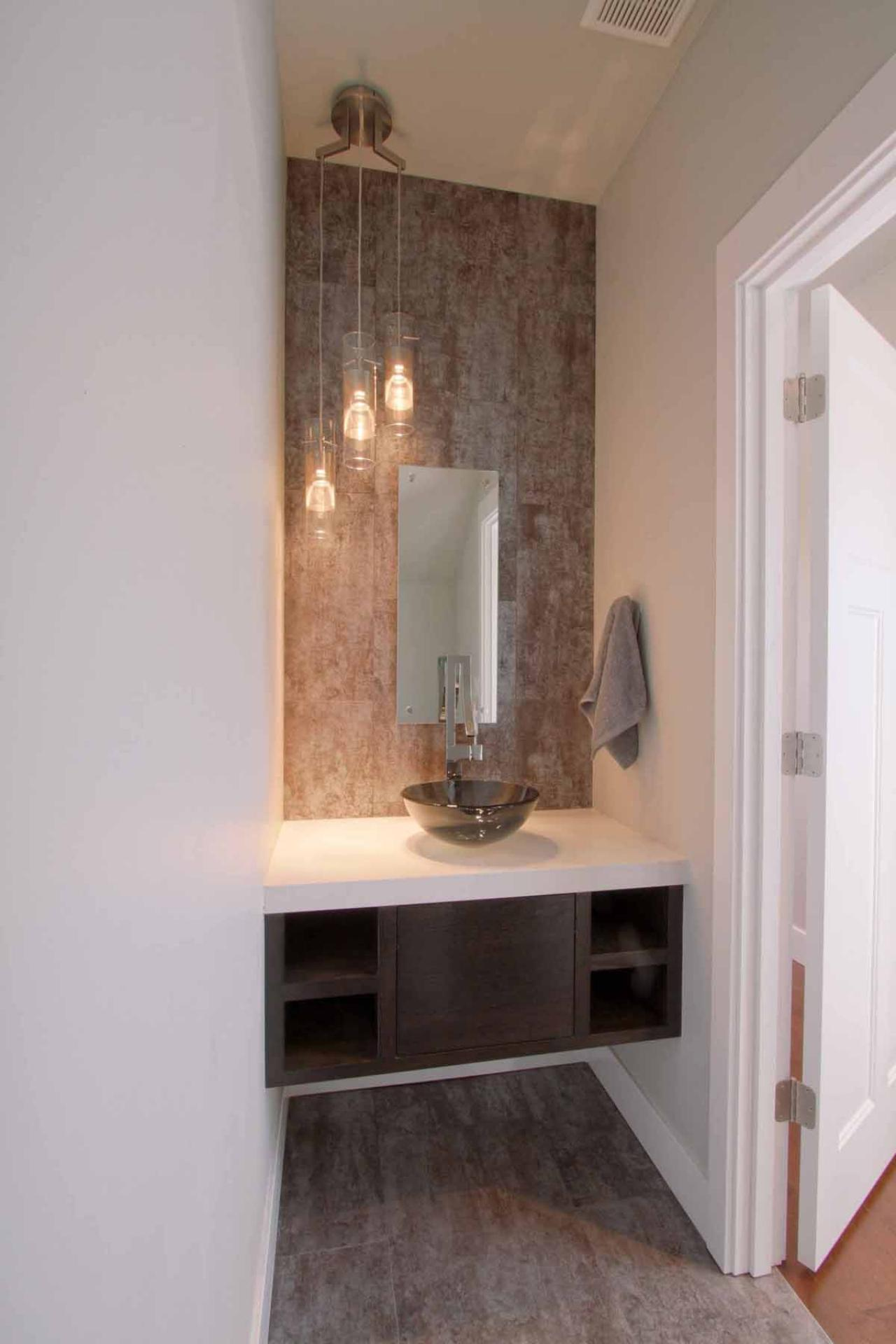 Modern Powder Room With Floating Vanity And Vessel Sink Hgtv