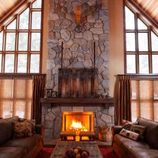 Rustic Stone Fireplace With Hidden TV
