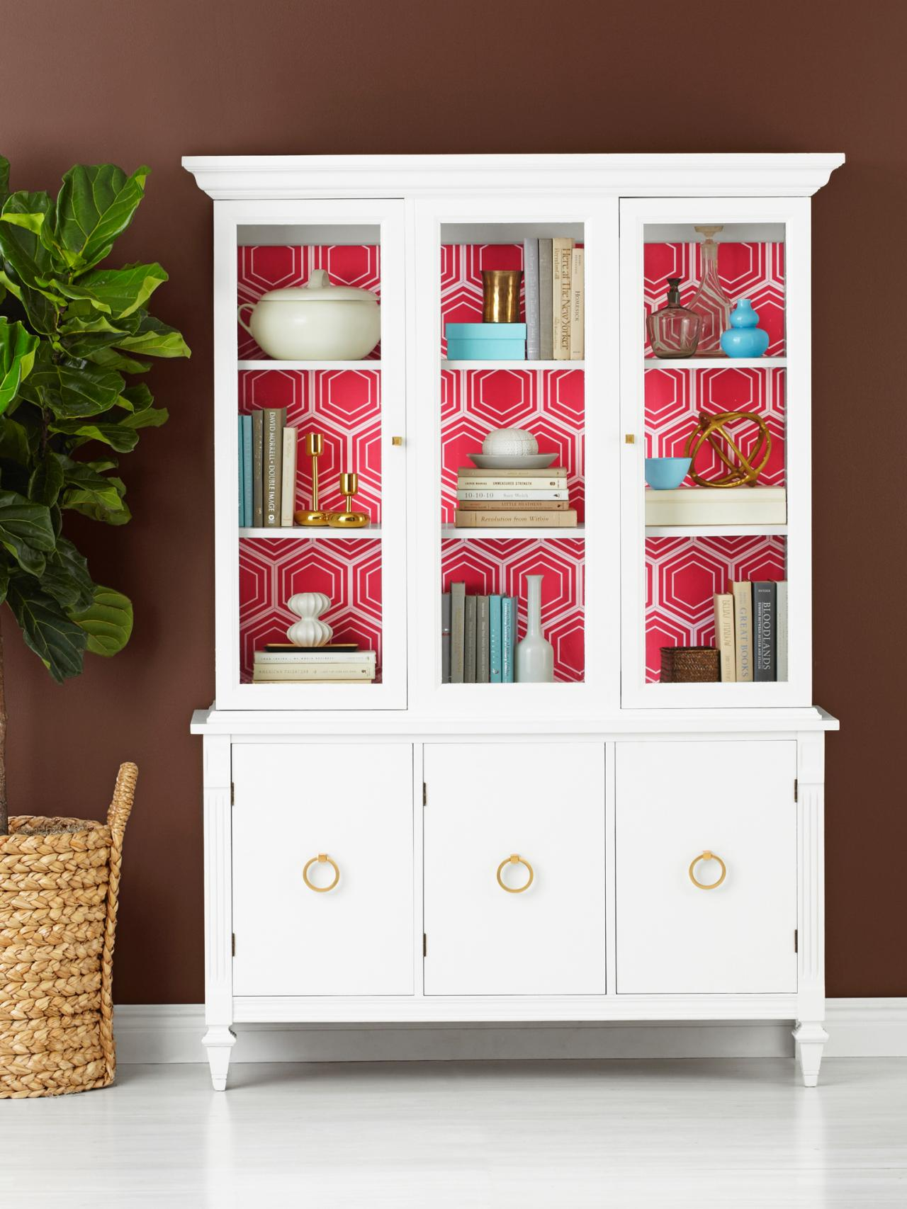 How To Wallpaper The Inside Of A China Cabinet Hgtv