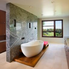 Granite-Adorned Bathroom With a View