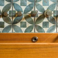 Geometric Bathtub Backsplash