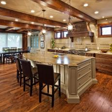 Beau Luxurious Traditional Kitchen With Exposed Wood Ceiling Beams
