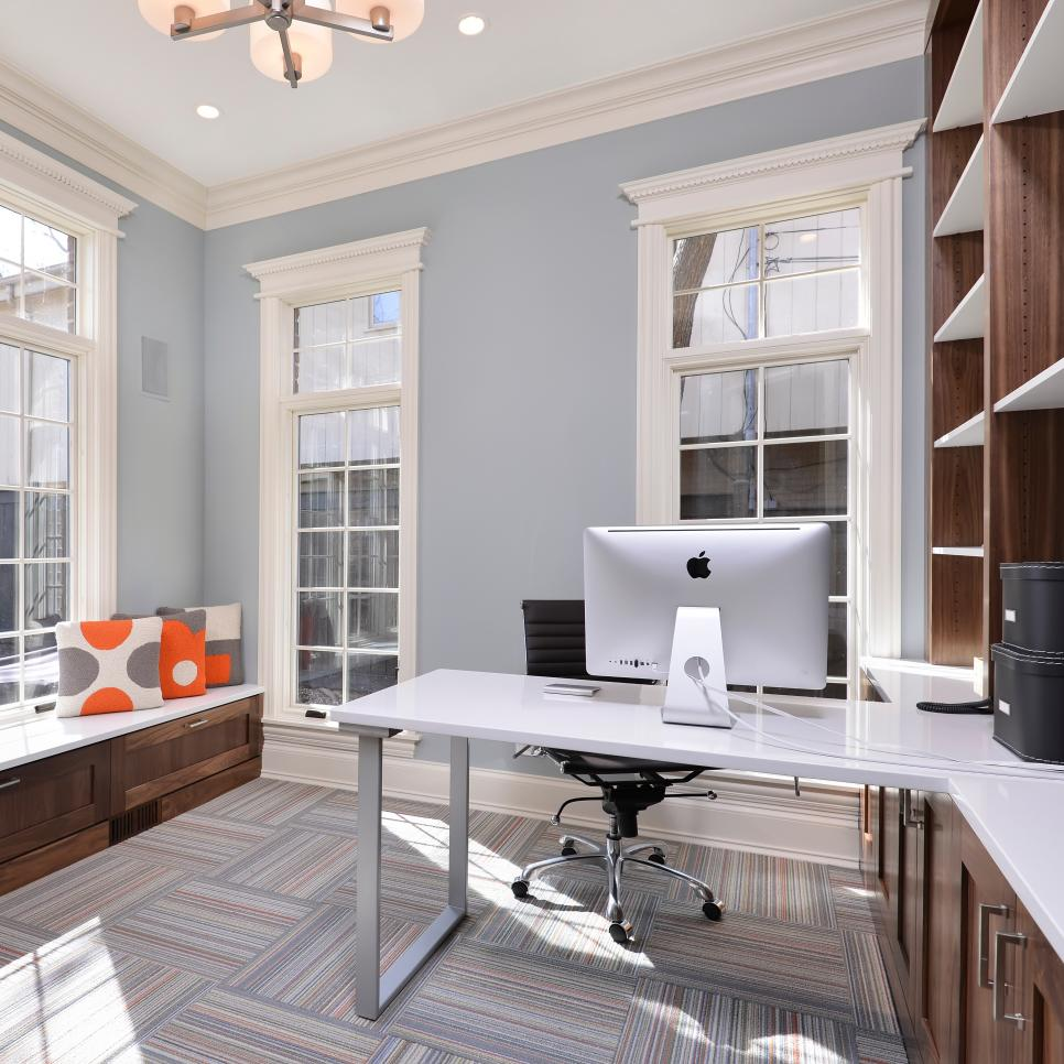 Light Blue Home Office With Orange & Gray Accents