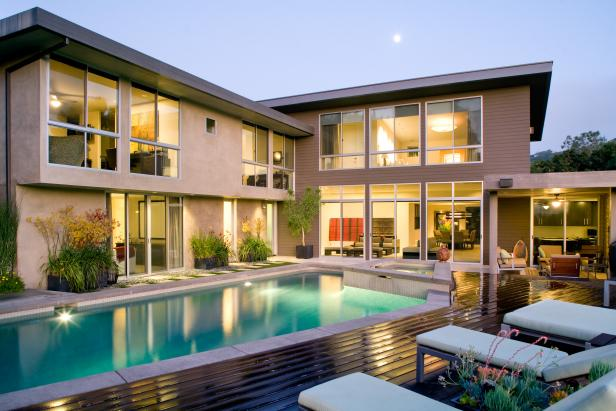 Taupe Home Exterior With Backyard Pool Area