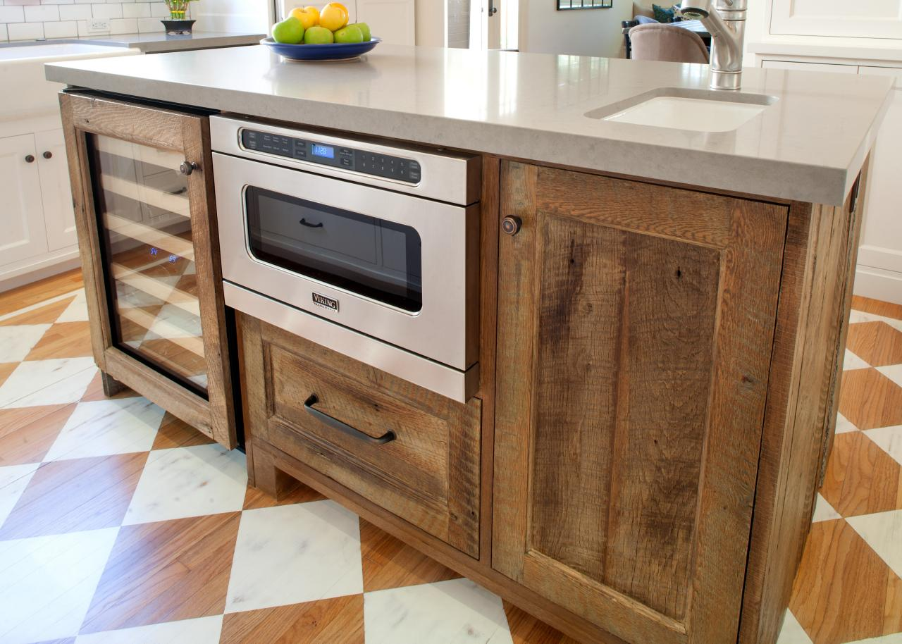 Rustic Kitchen Island With Built-In Wine Cooler