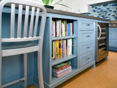 Contemporary Blue Kitchen Island With Built-In Storage