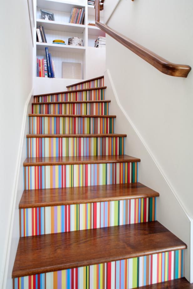 Custom Wallpaper Brightens Staircase