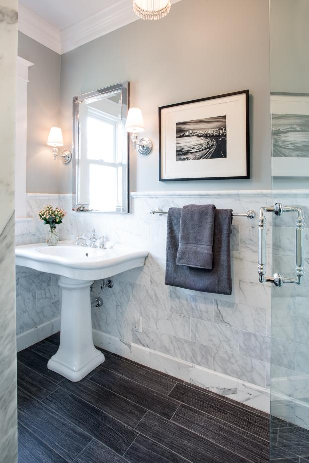 Traditional Bathroom With Marble Tile Wall Hgtv