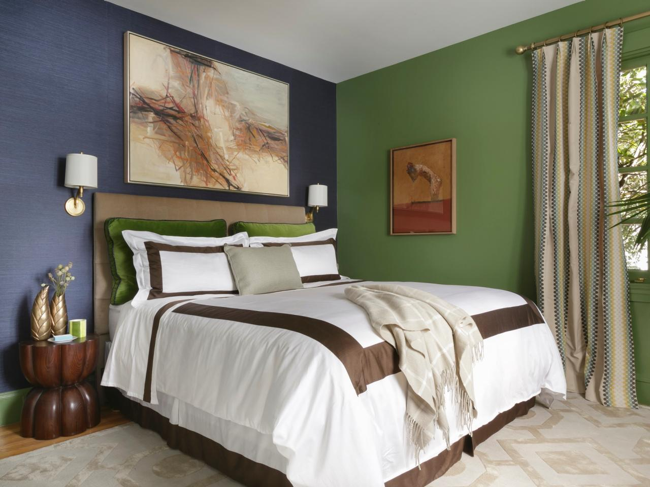 Transitional Master Bedroom With Blue Accent Wall Hgtv
