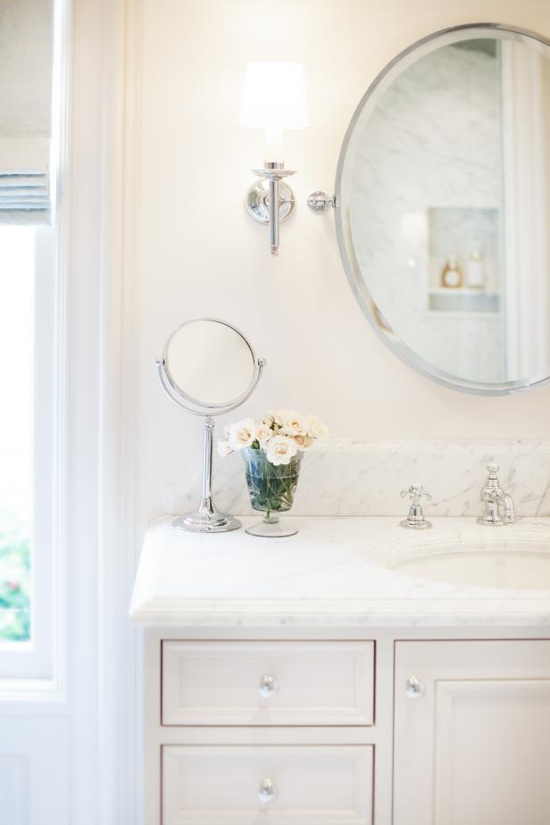 White Bathroom Vanity With Marble Countertop