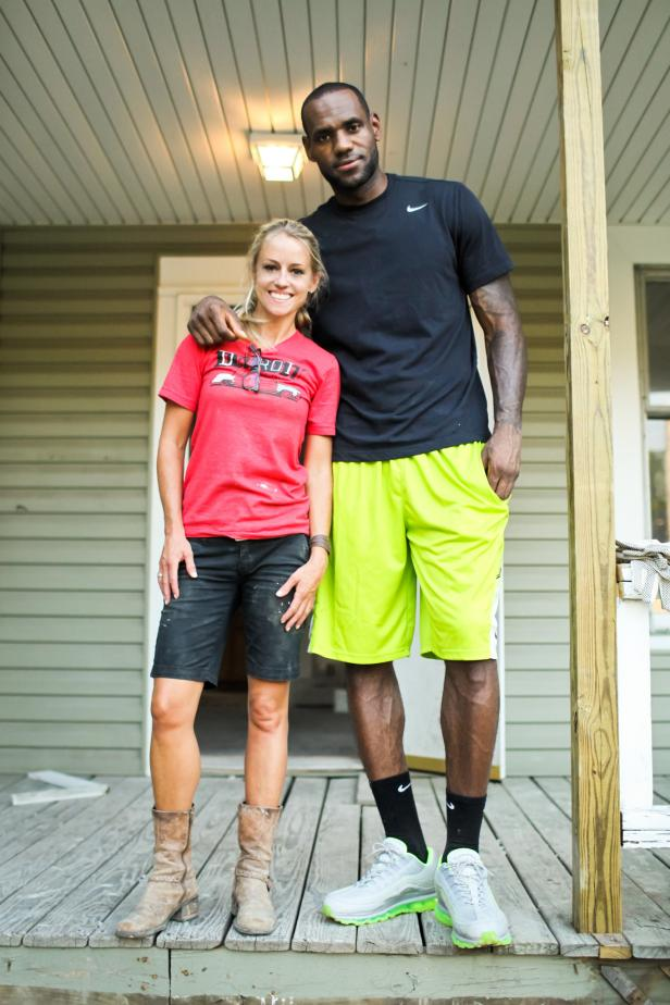Nicole Curtis and LeBron James Posing on Porch