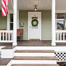 All-American Front Porch With Flag