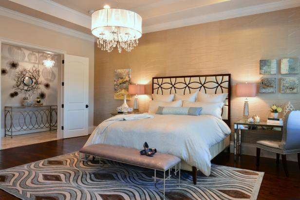 Bright And Airy Master Bedroom With Metallic Accents Hgtv