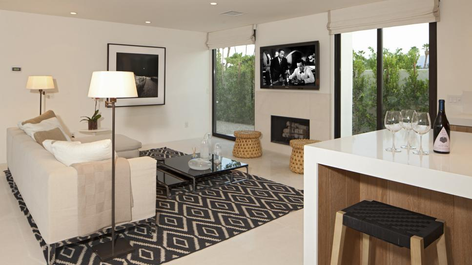 White Modern Living Room With Neutral & Black Accents