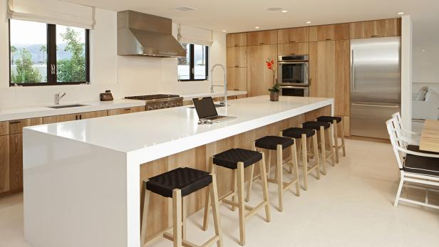 terrific wood countertop white kitchen island | Modern Kitchen Boasts White Island With Waterfall ...