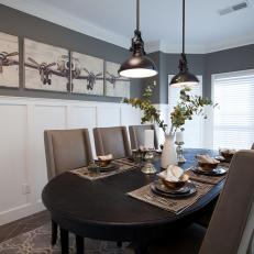 Slate Gray Dining Room With Industrial Pendants