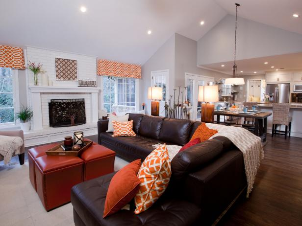White Contemporary Living Room With Leather Sectional Hgtv