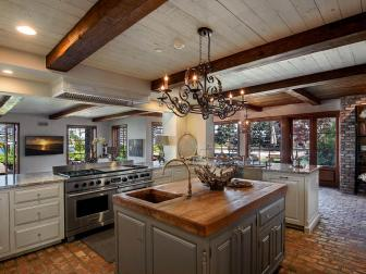 Open Eclectic Kitchen With Large Work Island