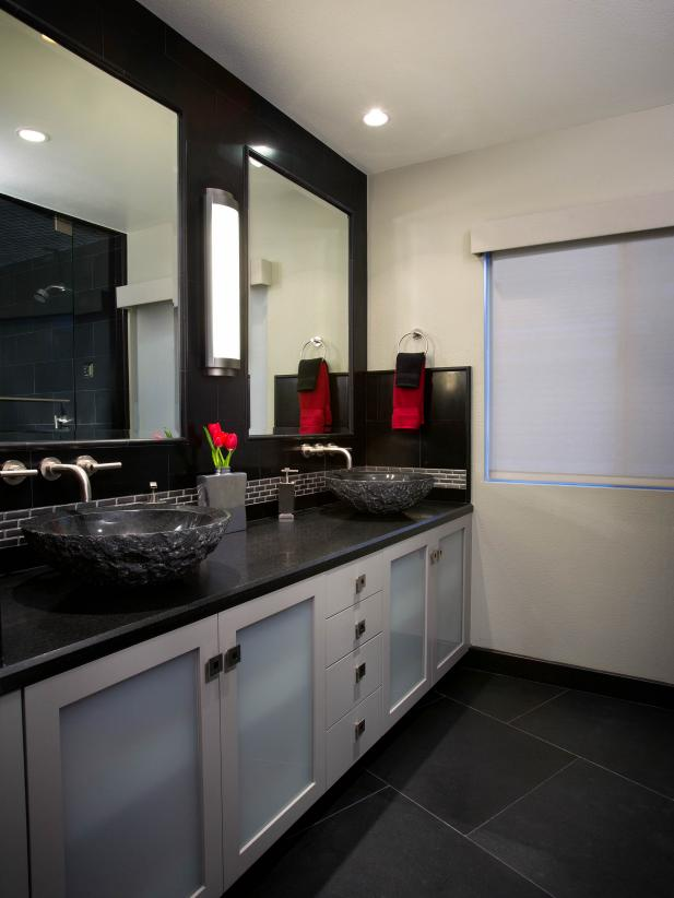 Black and White Bathroom With Double Vanity with Vessel Sinks
