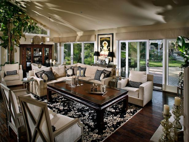 Beige and Black Transitional Living Room