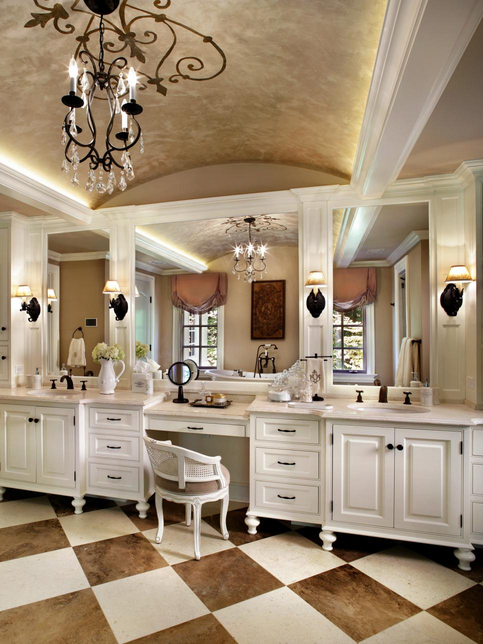 White Bathroom With Dual Vanity and Arched Ceiling With Chandelier