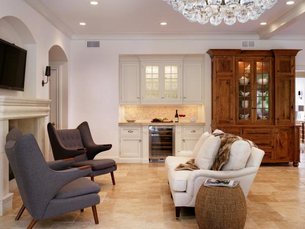 White Transitional Keeping Room With Wine Bar and China Cabinet