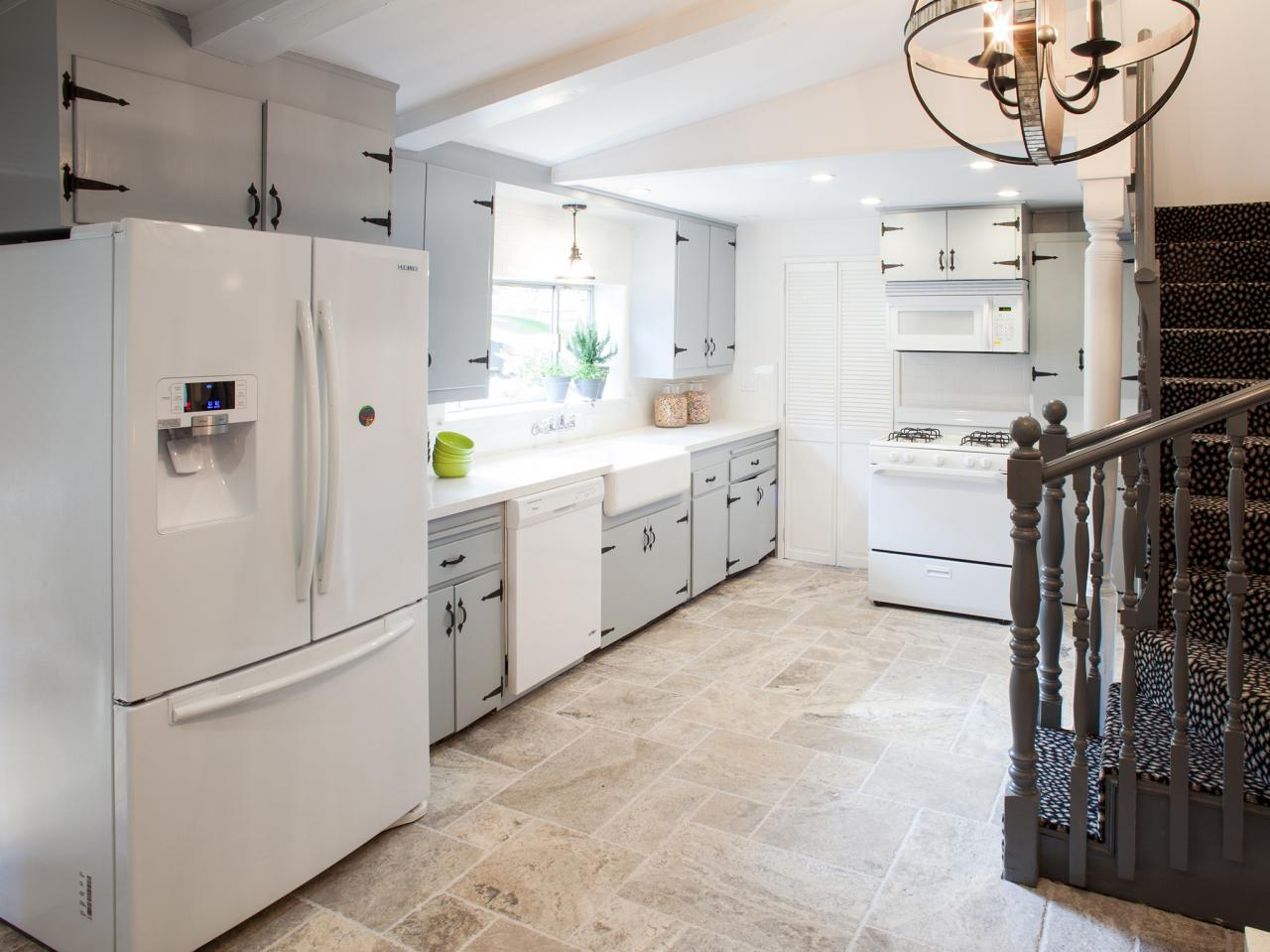 grey kitchen tile rustic luxe kitchen with tile floor hgtv 1505
