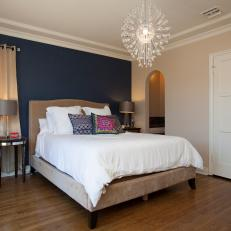 Blue Accent Wall In Contemporary Neutral Bedroom