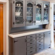 Gray Built-In Kitchen Cabinets with Floral Etched Glass Design