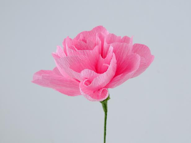 Once the last petals are added and taped to wire you end up with a beautiful, crepe paper peony.
