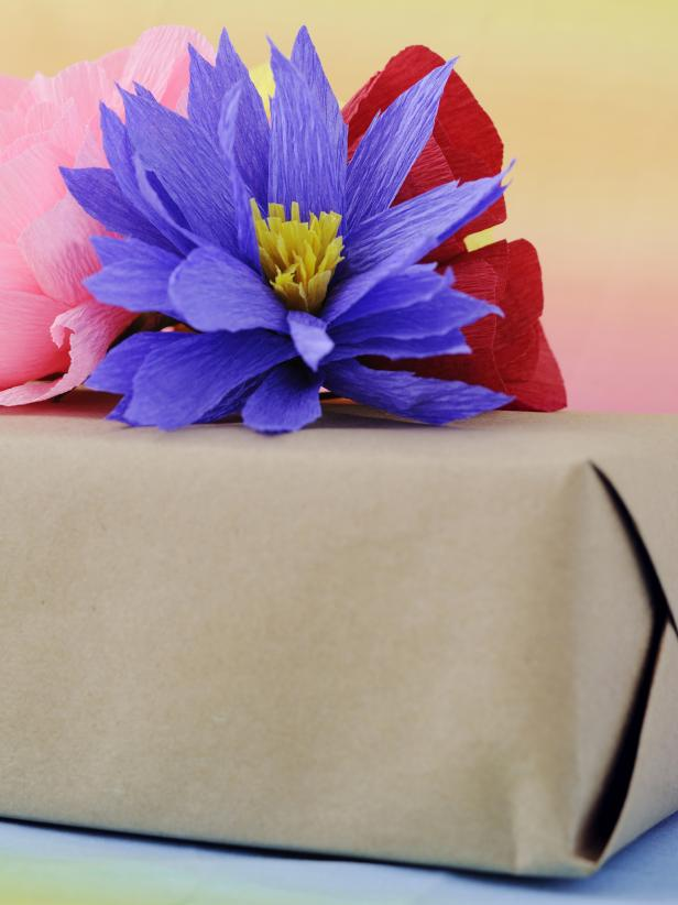 Use these crepe paper flower bouquets as eye-catching gift toppers.