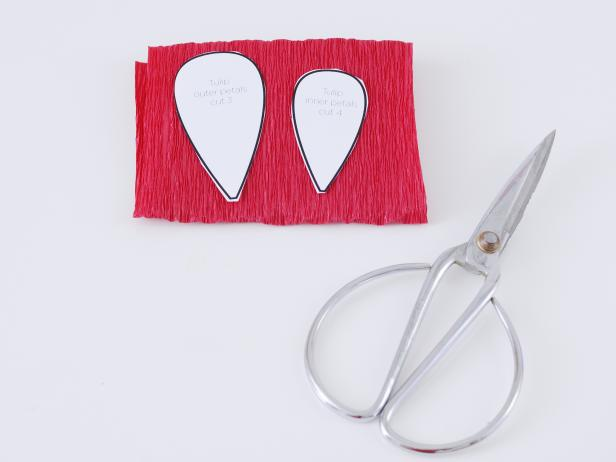 Cut the tulip petal templates out of the paper you printed them on, place on the folded crepe paper and cut them out.