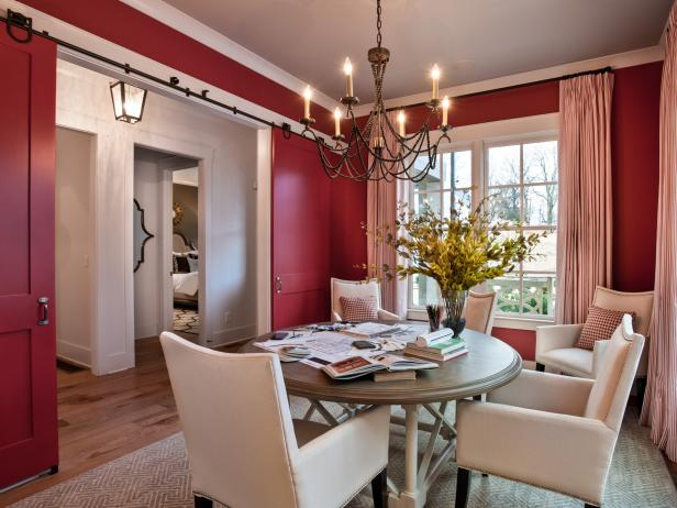 Red Transitional Dining Room With Neutral Furnishings, Sliding Doors