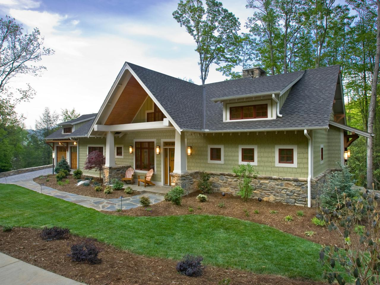Olive craftsman exterior with stunning curb appeal hgtv for Craftsman landscape design ideas